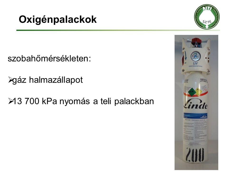 Oxigénpalackok szobahőmérsékleten:  gáz halmazállapot  13 700 kPa nyomás a teli palackban