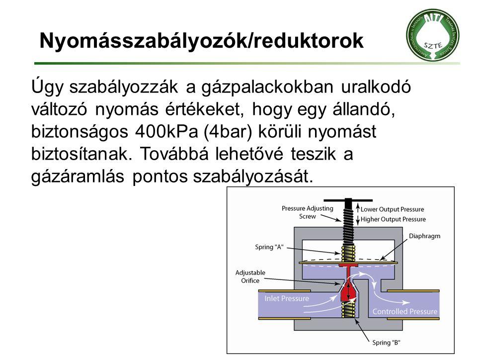 Nyomásszabályozók/reduktorok Úgy szabályozzák a gázpalackokban uralkodó változó nyomás értékeket, hogy egy állandó, biztonságos 400kPa (4bar) körüli n