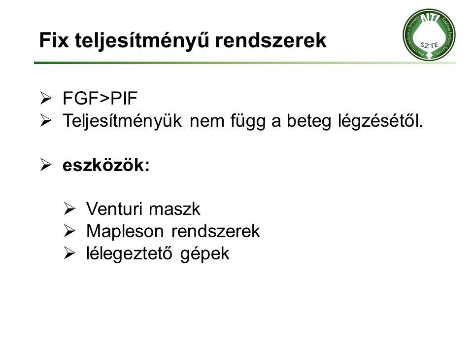 Fix teljesítményű rendszerek  FGF>PIF  Teljesítményük nem függ a beteg légzésétől.  eszközök:  Venturi maszk  Mapleson rendszerek  lélegeztető g