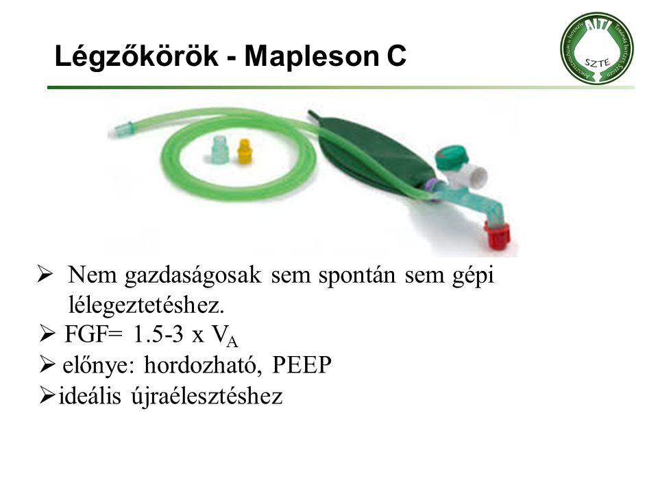 Légzőkörök - Mapleson C  Nem gazdaságosak sem spontán sem gépi lélegeztetéshez.  FGF= 1.5-3 x V A  előnye: hordozható, PEEP  ideális újraélesztésh