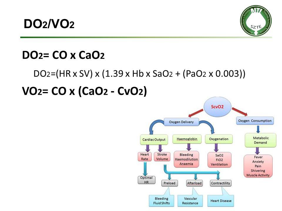 DO 2 /VO 2 DO 2 = CO x CaO 2 DO 2 =(HR x SV) x (1.39 x Hb x SaO 2 + (PaO 2 x 0.003)) VO 2 = CO x (CaO 2 - CvO 2 )