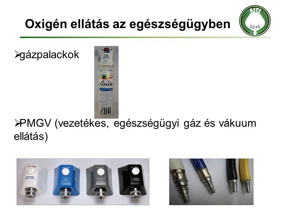 Oxigén ellátás az egészségügyben  gázpalackok  PMGV (vezetékes, egészségügyi gáz és vákuum ellátás)