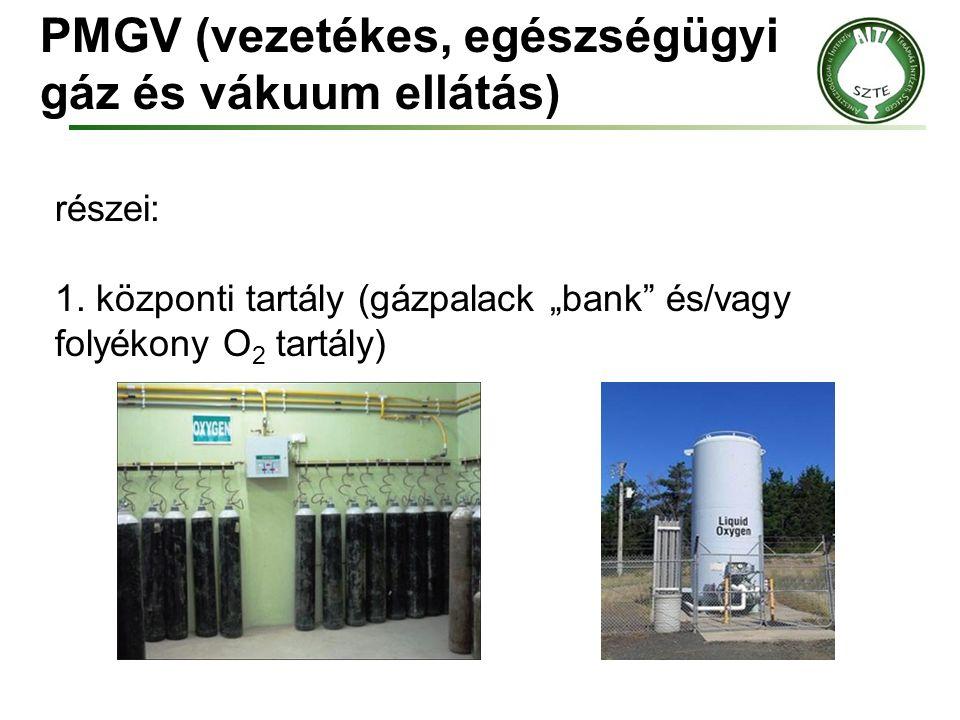 """PMGV (vezetékes, egészségügyi gáz és vákuum ellátás) részei: 1. központi tartály (gázpalack """"bank"""" és/vagy folyékony O 2 tartály)"""