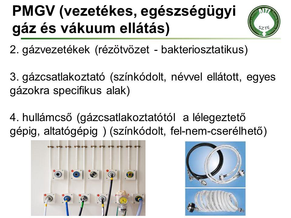 PMGV (vezetékes, egészségügyi gáz és vákuum ellátás) 2. gázvezetékek (rézötvözet - bakteriosztatikus) 3. gázcsatlakoztató (színkódolt, névvel ellátott