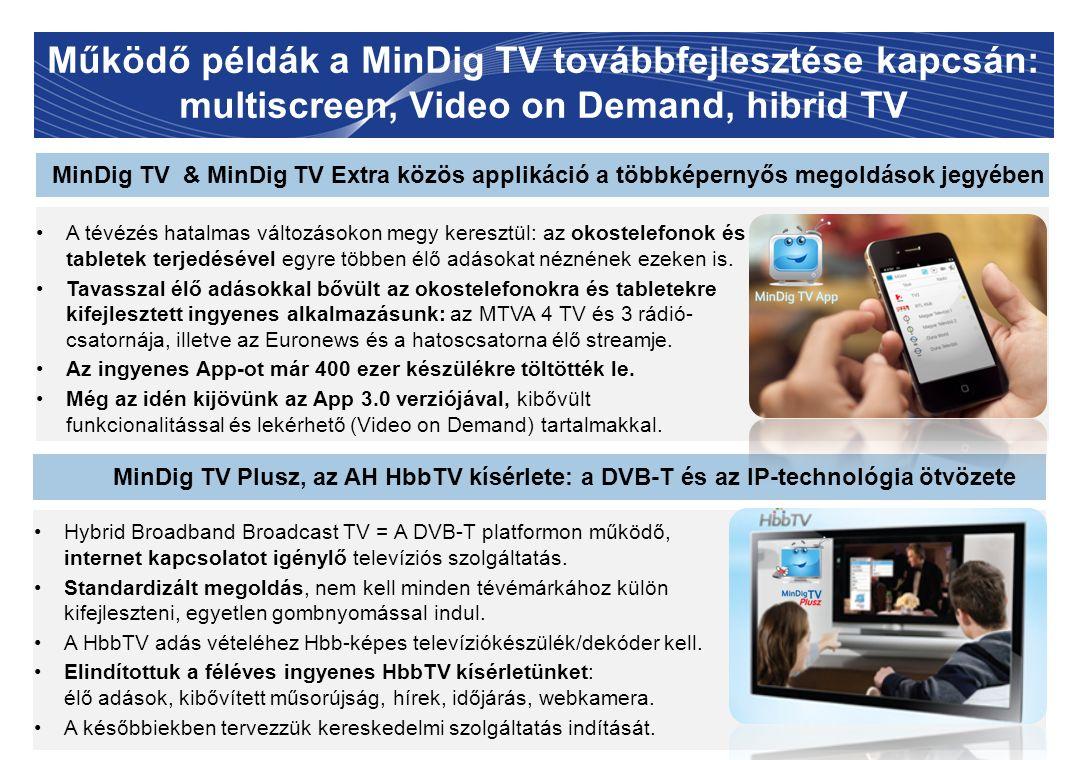Működő példák a MinDig TV továbbfejlesztése kapcsán: multiscreen, Video on Demand, hibrid TV 11 MinDig TV & MinDig TV Extra közös applikáció a többkép