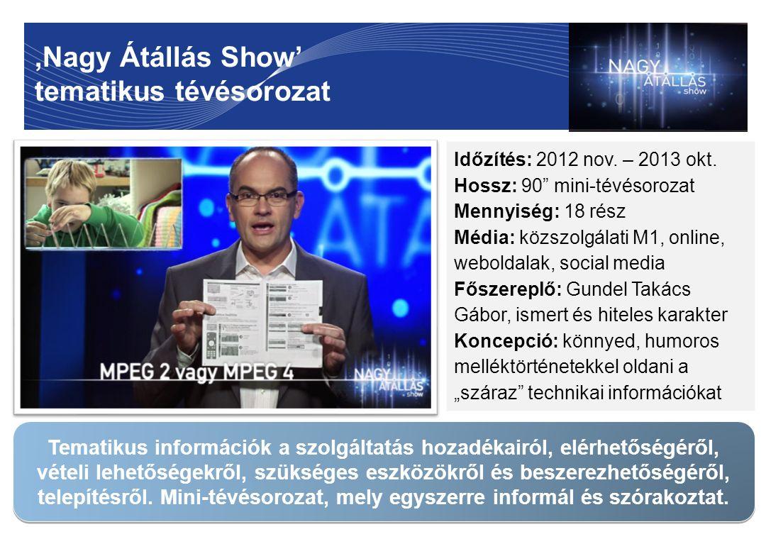 """'Nagy Átállás Show' tematikus tévésorozat 7 Időzítés: 2012 nov. – 2013 okt. Hossz: 90"""" mini-tévésorozat Mennyiség: 18 rész Média: közszolgálati M1, on"""