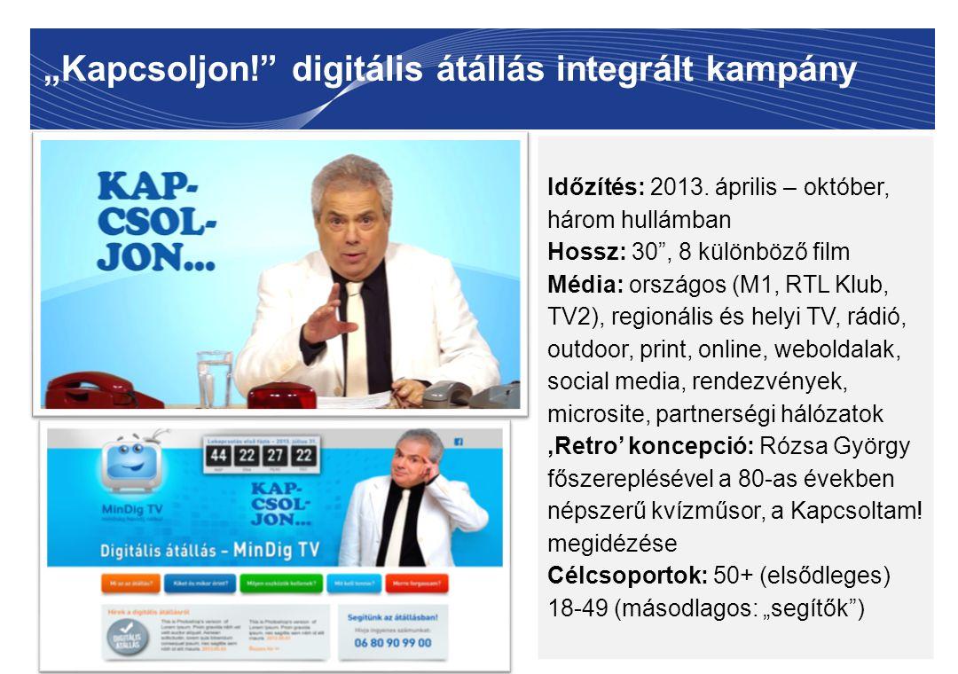 """""""Kapcsoljon!"""" digitális átállás integrált kampány 8 Időzítés: 2013. április – október, három hullámban Hossz: 30"""", 8 különböző film Média: országos (M"""