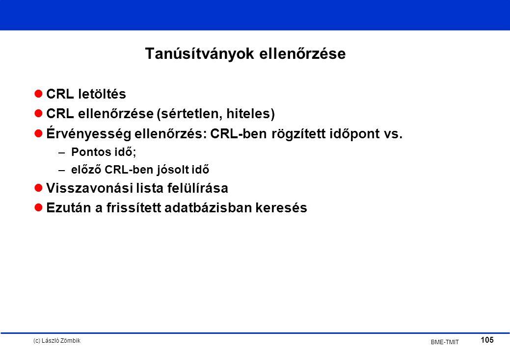 (c) László Zömbik 105 BME-TMIT Tanúsítványok ellenőrzése CRL letöltés CRL ellenőrzése (sértetlen, hiteles) Érvényesség ellenőrzés: CRL-ben rögzített időpont vs.