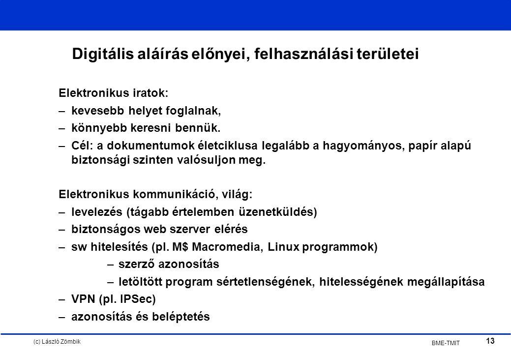 (c) László Zömbik 13 BME-TMIT Digitális aláírás előnyei, felhasználási területei Elektronikus iratok: –kevesebb helyet foglalnak, –könnyebb keresni bennük.