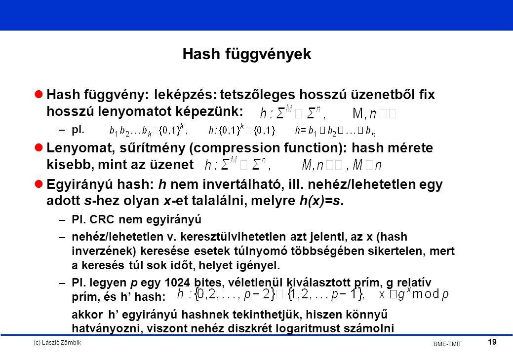 (c) László Zömbik 19 BME-TMIT Hash függvények Hash függvény: leképzés: tetszőleges hosszú üzenetből fix hosszú lenyomatot képezünk: –pl.