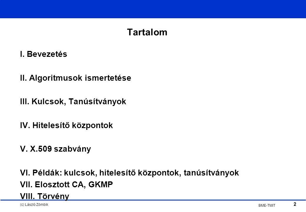 (c) László Zömbik 2 BME-TMIT Tartalom I. Bevezetés II.