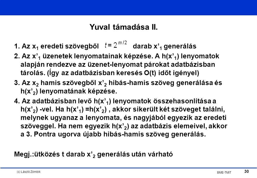 (c) László Zömbik 30 BME-TMIT Yuval támadása II. 1.