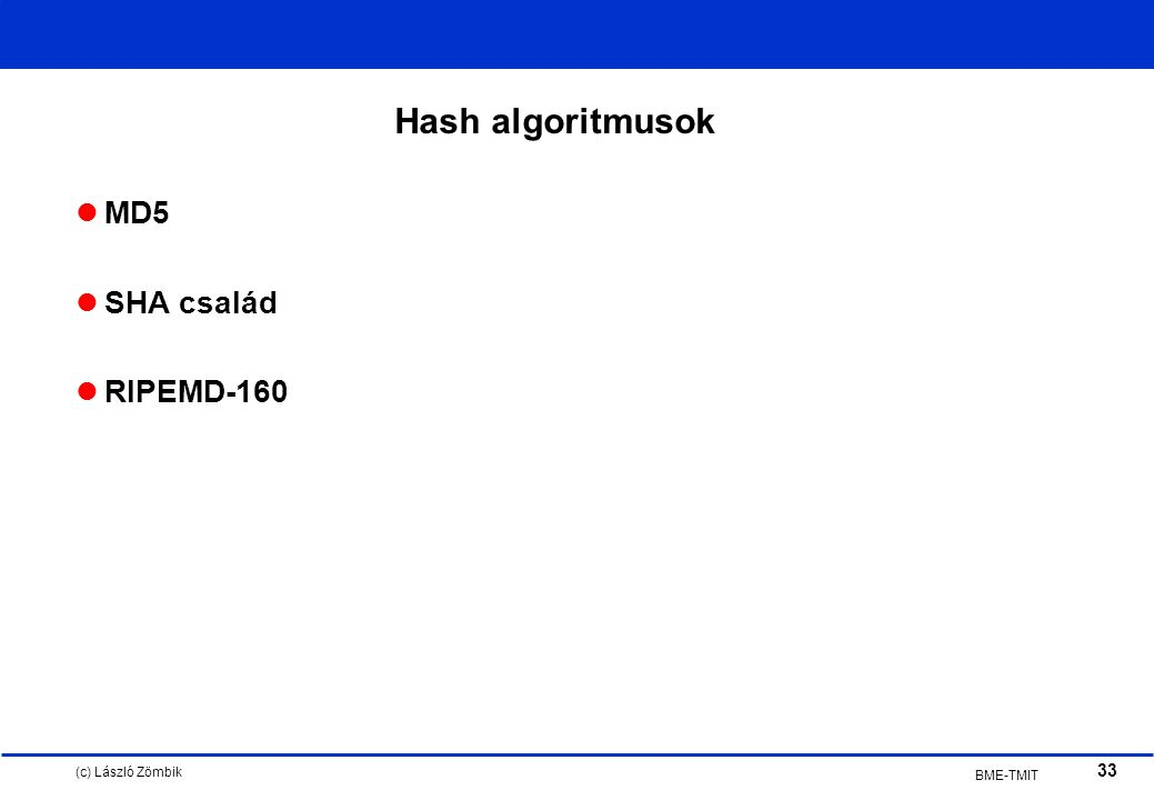 (c) László Zömbik 33 BME-TMIT Hash algoritmusok MD5 SHA család RIPEMD-160