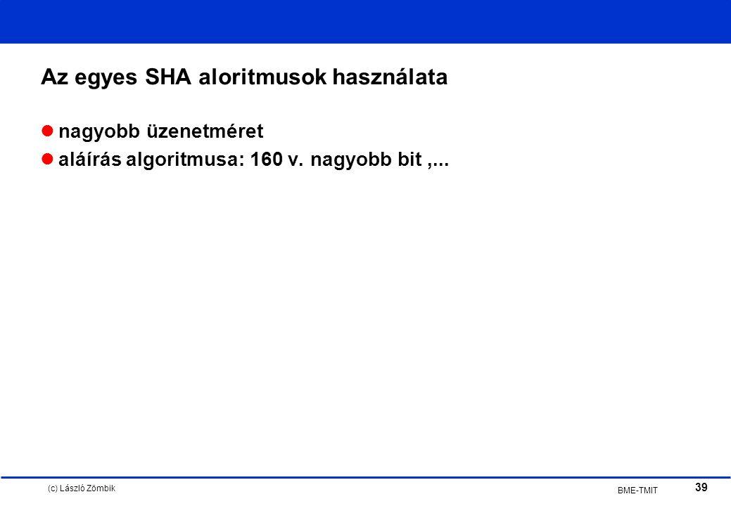 (c) László Zömbik 39 BME-TMIT Az egyes SHA aloritmusok használata nagyobb üzenetméret aláírás algoritmusa: 160 v.