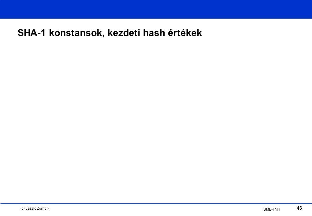 (c) László Zömbik 43 BME-TMIT SHA-1 konstansok, kezdeti hash értékek