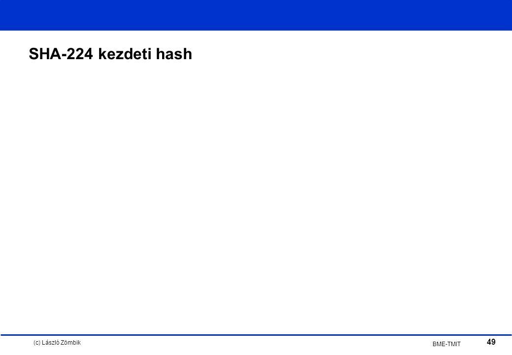 (c) László Zömbik 49 BME-TMIT SHA-224 kezdeti hash