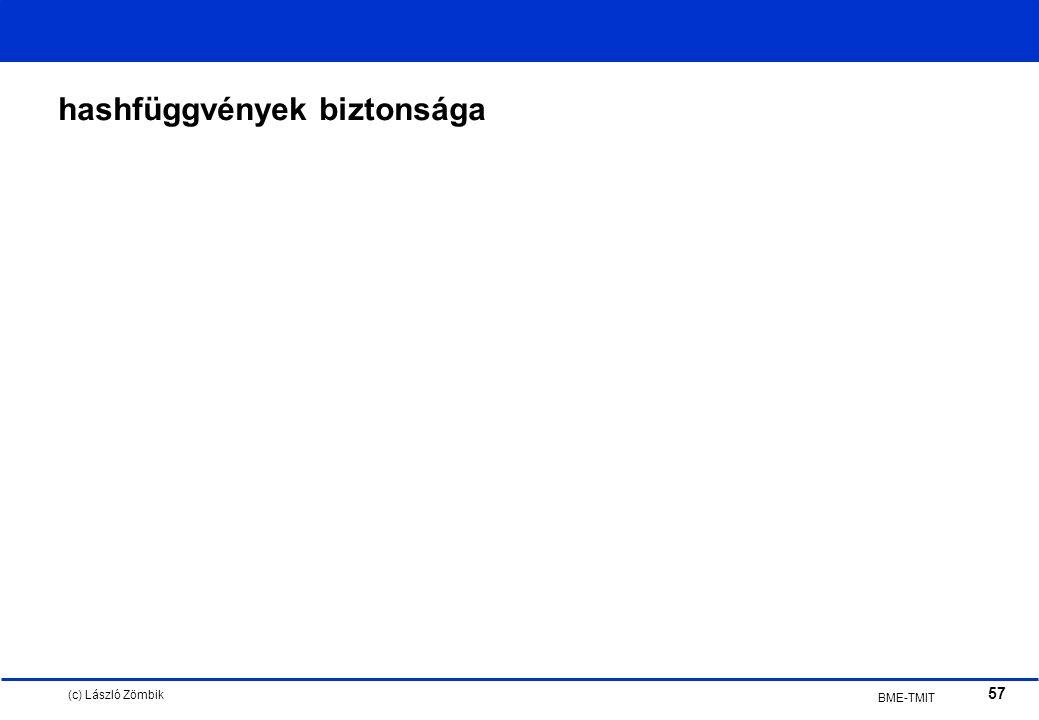 (c) László Zömbik 57 BME-TMIT hashfüggvények biztonsága