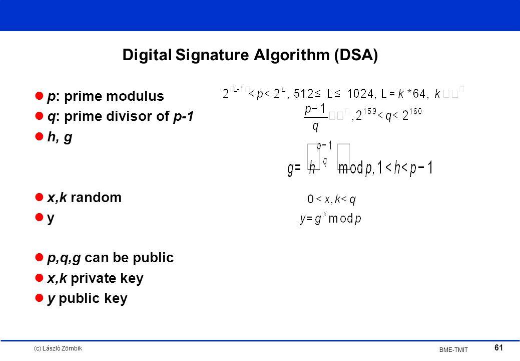 (c) László Zömbik 61 BME-TMIT Digital Signature Algorithm (DSA) p: prime modulus q: prime divisor of p-1 h, g x,k random y p,q,g can be public x,k private key y public key