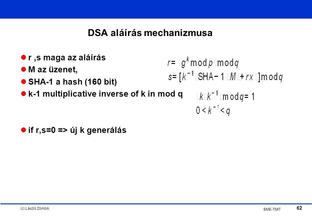 (c) László Zömbik 62 BME-TMIT DSA aláírás mechanizmusa r,s maga az aláírás M az üzenet, SHA-1 a hash (160 bit) k-1 multiplicative inverse of k in mod q if r,s=0 => új k generálás