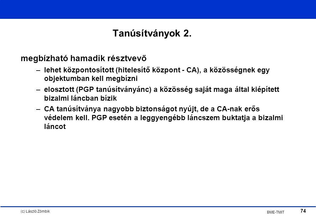 (c) László Zömbik 74 BME-TMIT Tanúsítványok 2.