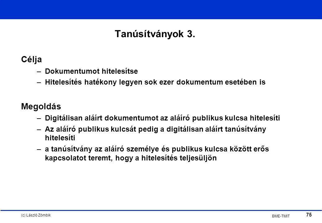 (c) László Zömbik 75 BME-TMIT Tanúsítványok 3.