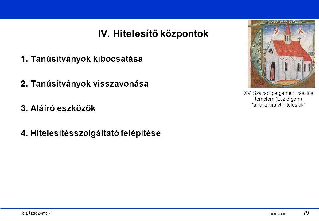 (c) László Zömbik 79 BME-TMIT IV. Hitelesítő központok 1.