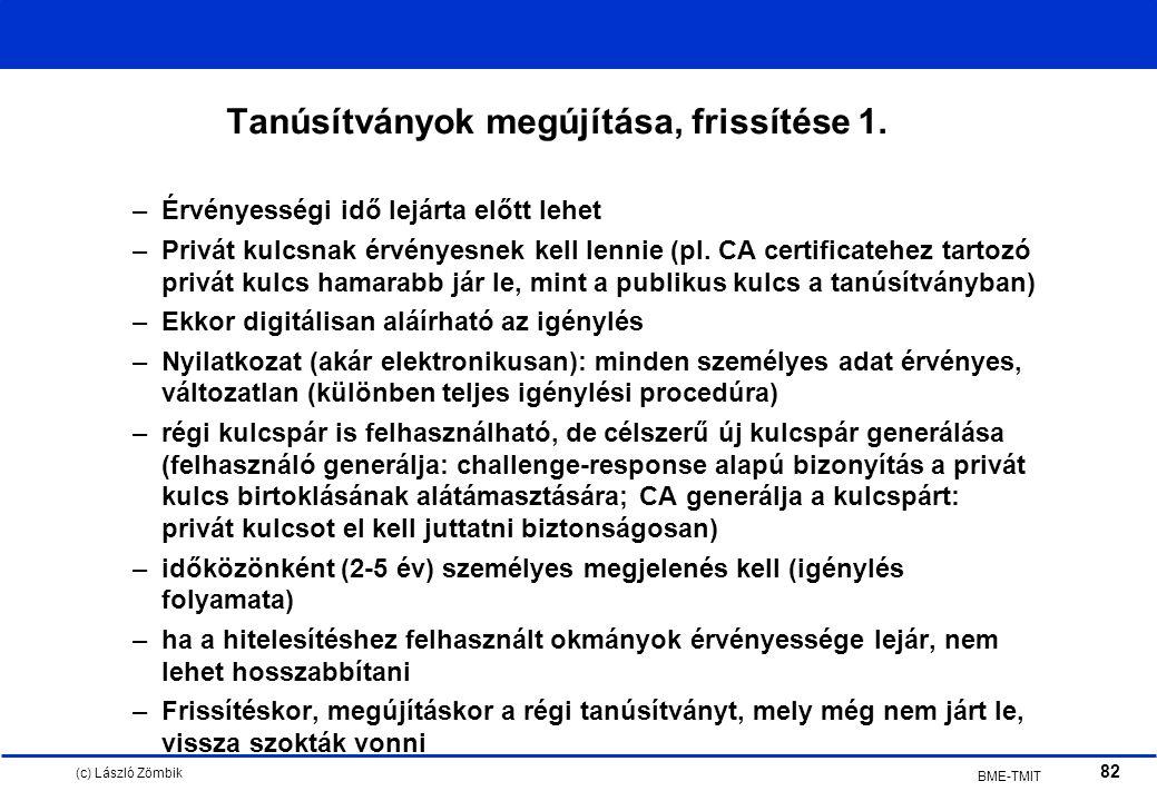 (c) László Zömbik 82 BME-TMIT Tanúsítványok megújítása, frissítése 1.