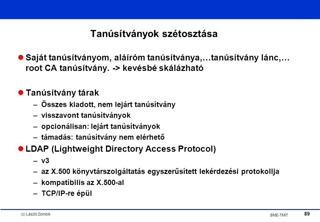 (c) László Zömbik 89 BME-TMIT Tanúsítványok szétosztása Saját tanúsítványom, aláíróm tanúsítványa,…tanúsítvány lánc,… root CA tanúsítvány.
