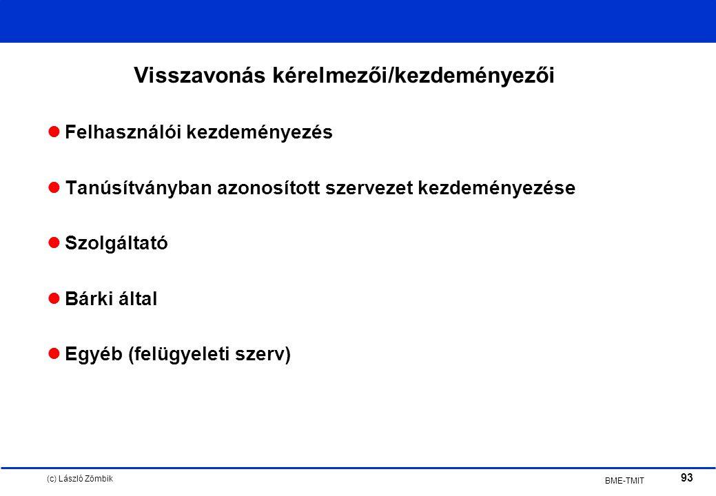 (c) László Zömbik 93 BME-TMIT Visszavonás kérelmezői/kezdeményezői Felhasználói kezdeményezés Tanúsítványban azonosított szervezet kezdeményezése Szolgáltató Bárki által Egyéb (felügyeleti szerv)
