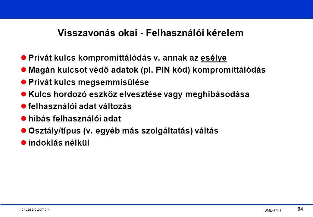 (c) László Zömbik 94 BME-TMIT Visszavonás okai - Felhasználói kérelem Privát kulcs kompromittálódás v.