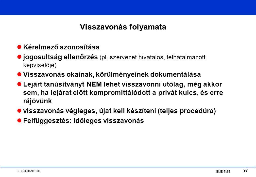 (c) László Zömbik 97 BME-TMIT Visszavonás folyamata Kérelmező azonosítása jogosultság ellenőrzés (pl.