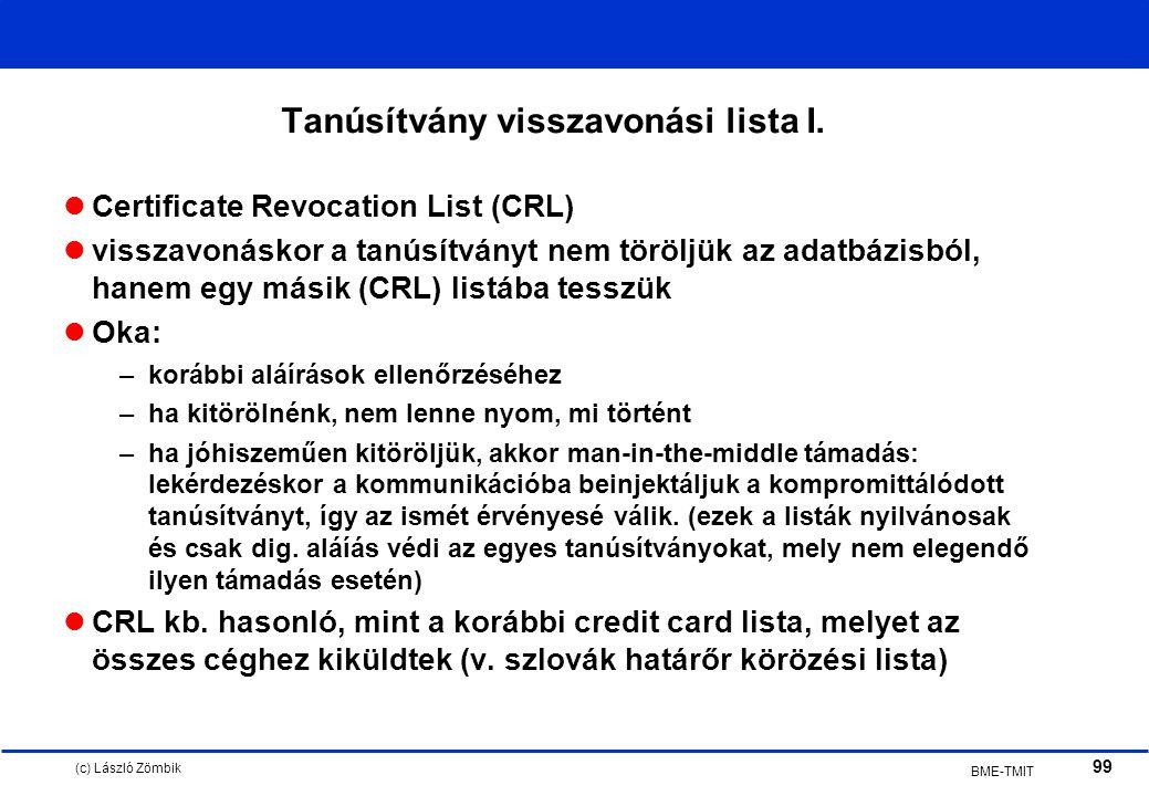 (c) László Zömbik 99 BME-TMIT Tanúsítvány visszavonási lista I.