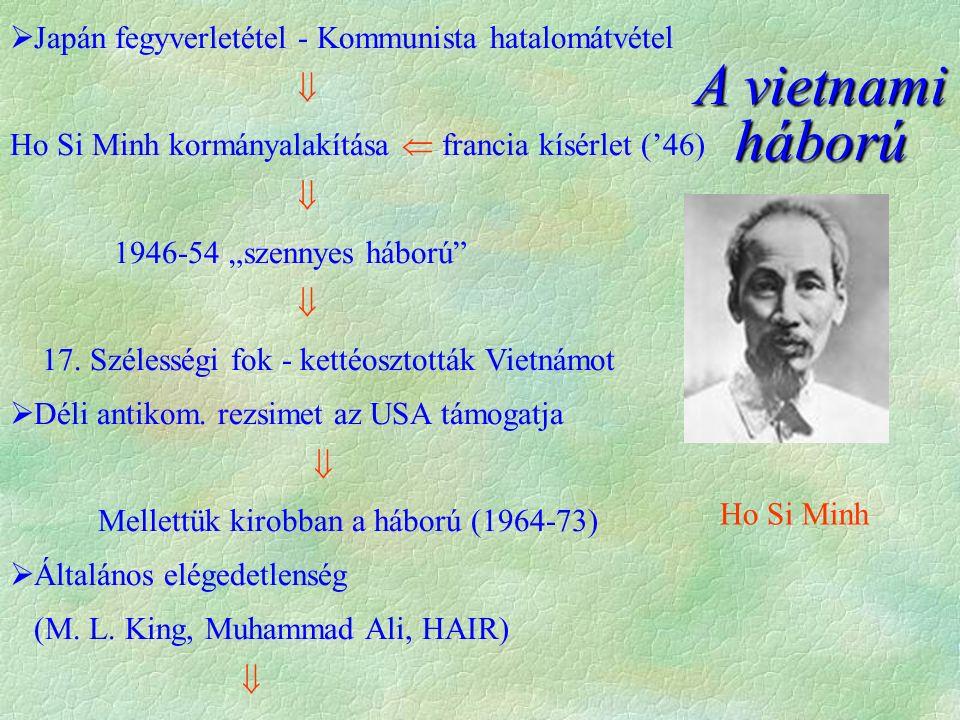""" Japán fegyverletétel - Kommunista hatalomátvétel  Ho Si Minh kormányalakítása  francia kísérlet ('46)  1946-54 """"szennyes háború  17."""