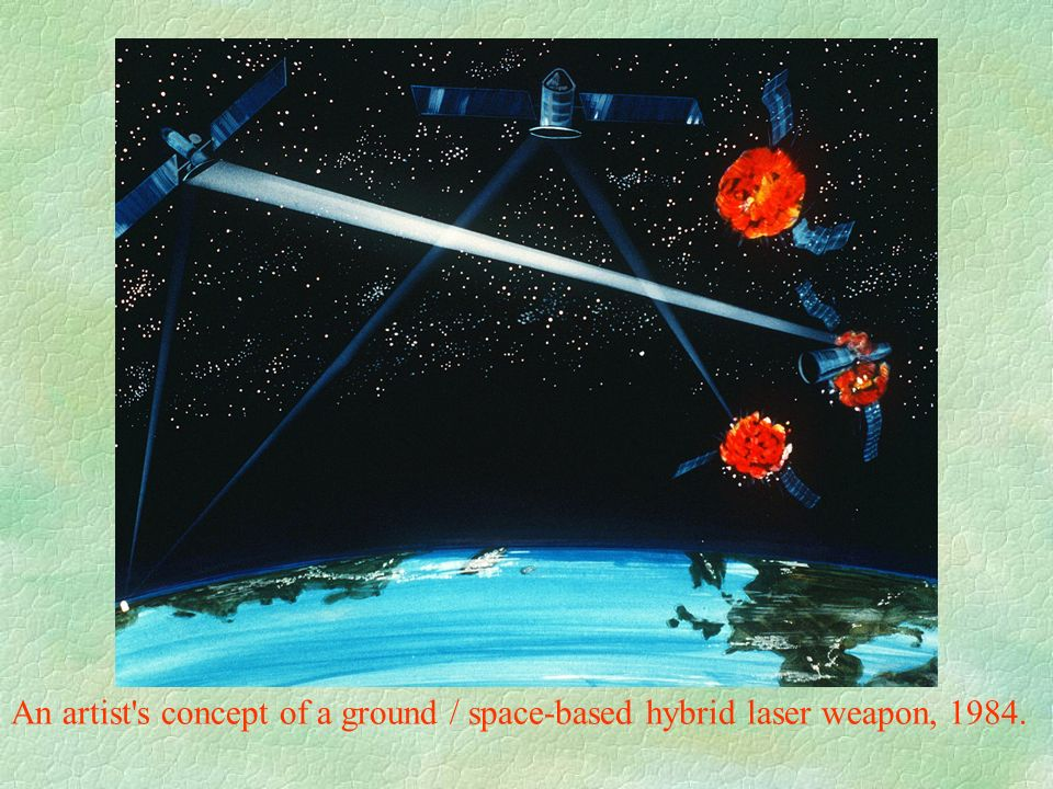 An artist s concept of a ground / space-based hybrid laser weapon, 1984.
