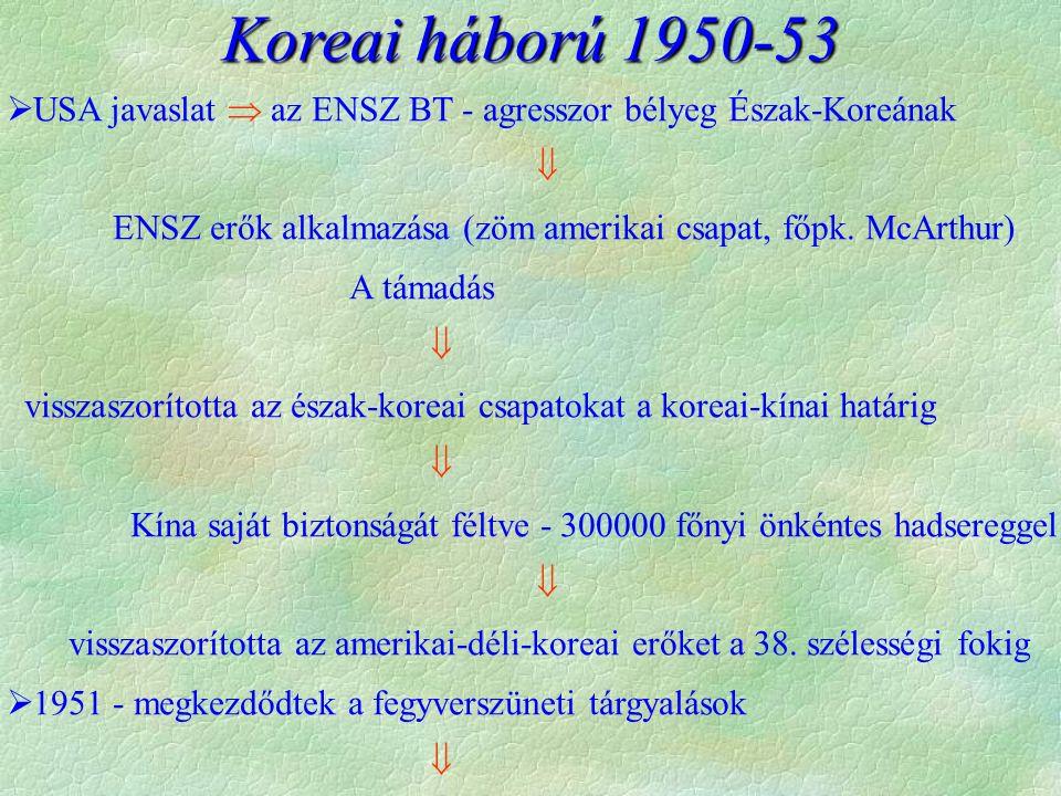 1953: panmindzsoni fegyverszüneti egyezmény  a határvonal változatlan marad, (38.