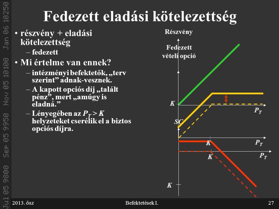 """2013. őszBefektetések I.27 Fedezett eladási kötelezettség részvény + eladási kötelezettség –fedezett Mi értelme van ennek? –intézményi befektetők, """"te"""