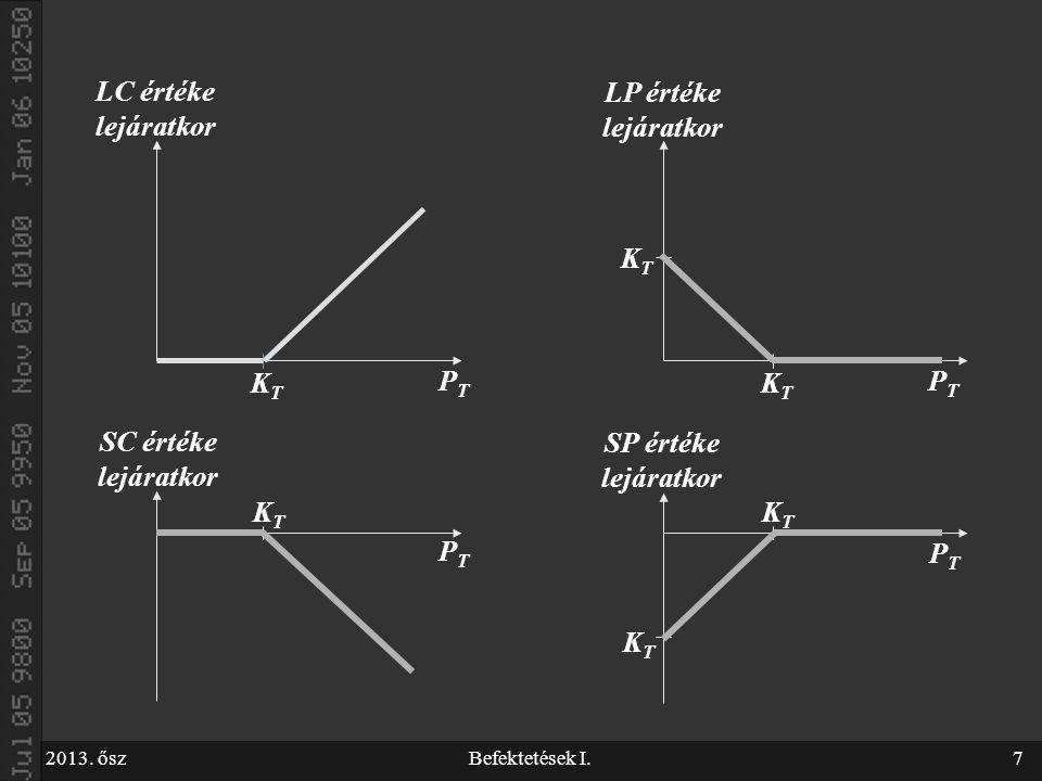 2013. őszBefektetések I.7 LC értéke lejáratkor PTPT KTKT KTKT KTKT LP értéke lejáratkor PTPT KTKT KTKT SP értéke lejáratkor PTPT KTKT SC értéke lejára