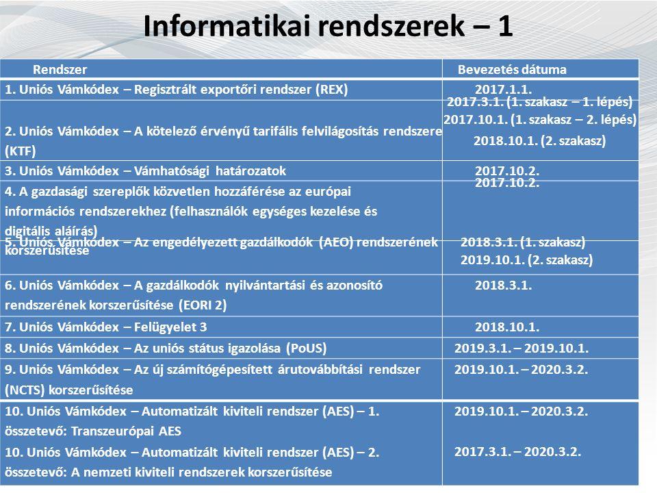 Informatikai rendszerek – 1 Rendszer Bevezetés dátuma 1.