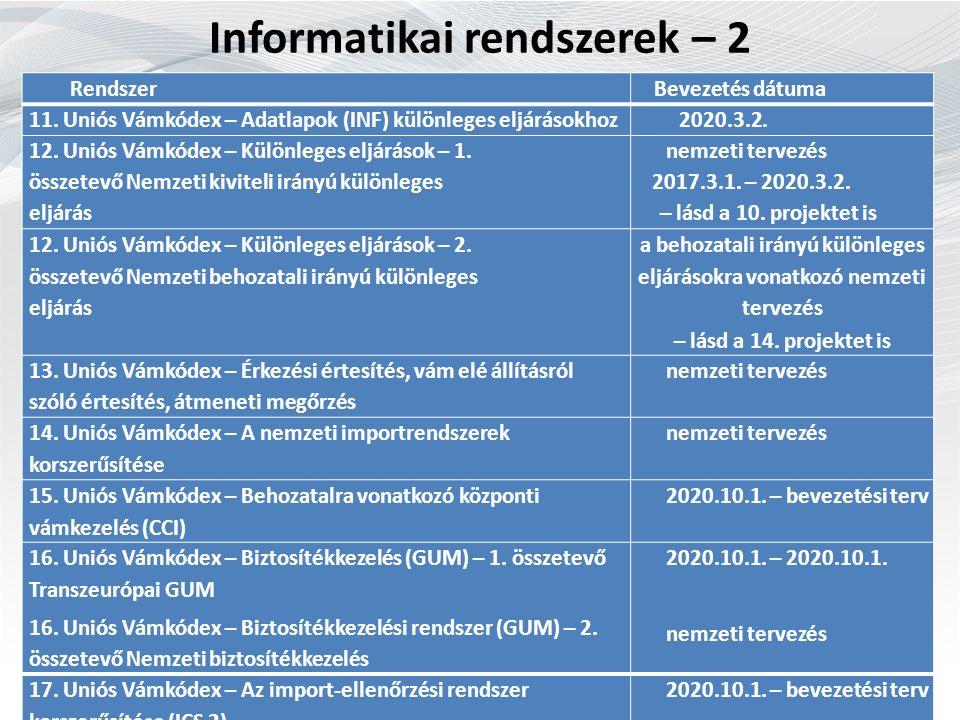 Informatikai rendszerek – 2 Rendszer Bevezetés dátuma 11.
