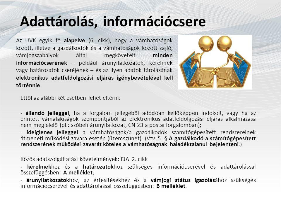 Adattárolás, információcsere Az UVK egyik fő alapelve (6.