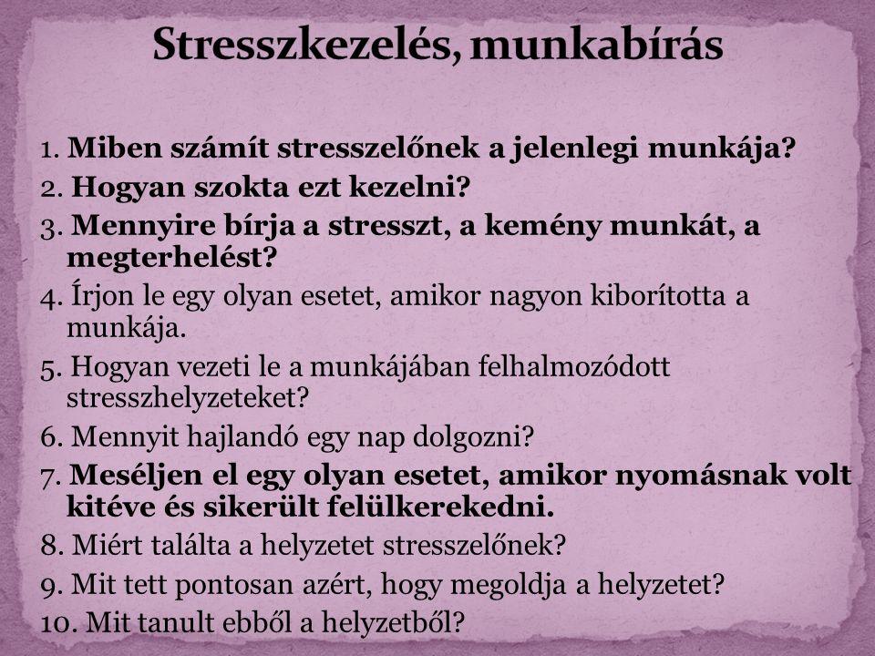 1. Miben számít stresszelőnek a jelenlegi munkája.