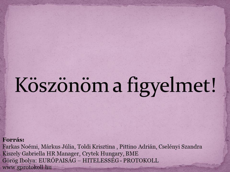 Forrás: Farkas Noémi, Márkus Júlia, Toldi Krisztina, Pittino Adrián, Cselényi Szandra Kiszely Gabriella HR Manager, Crytek Hungary, BME Görög Ibolya: EURÓPAISÁG – HITELESSÉG - PROTOKOLL www.gprotokoll.hu