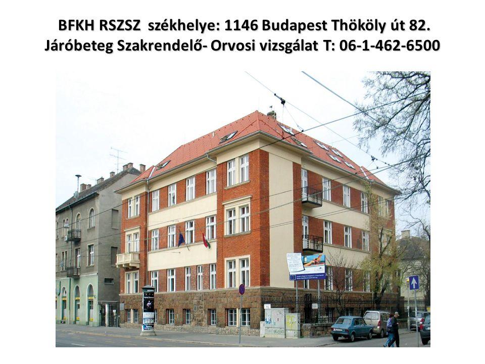 BFKH RSZSZ székhelye: 1146 Budapest Thököly út 82.