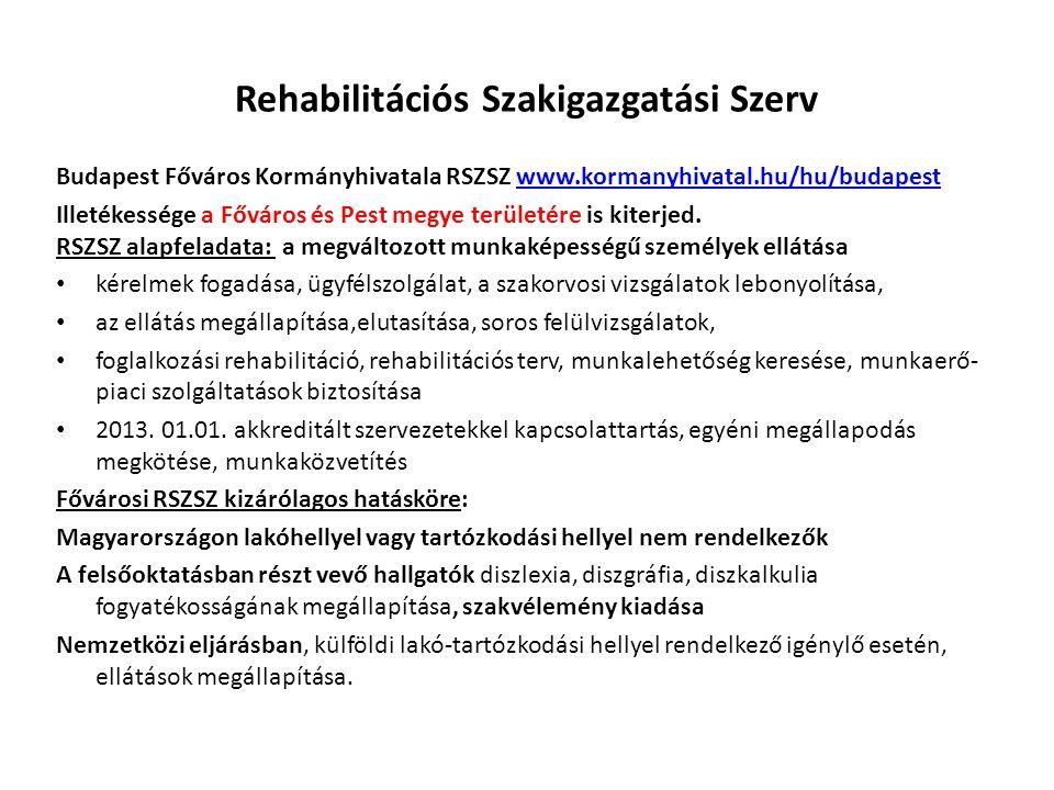 Rehabilitációs Szakigazgatási Szerv Budapest Főváros Kormányhivatala RSZSZ www.kormanyhivatal.hu/hu/budapestwww.kormanyhivatal.hu/hu/budapest Illetékessége a Főváros és Pest megye területére is kiterjed.