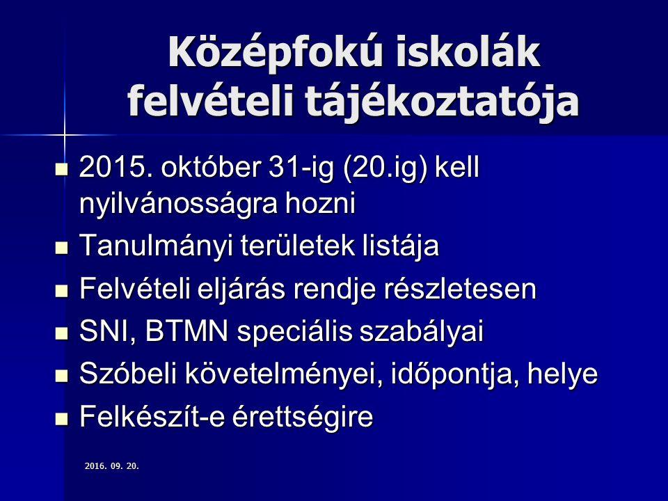 Középfokú iskolák felvételi tájékoztatója 2015.