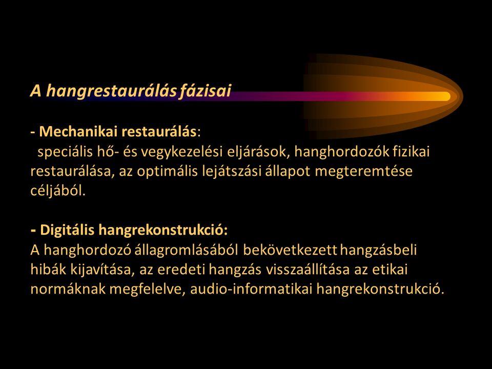 A hangrestaurálás fázisai - Mechanikai restaurálás: speciális hő- és vegykezelési eljárások, hanghordozók fizikai restaurálása, az optimális lejátszási állapot megteremtése céljából.