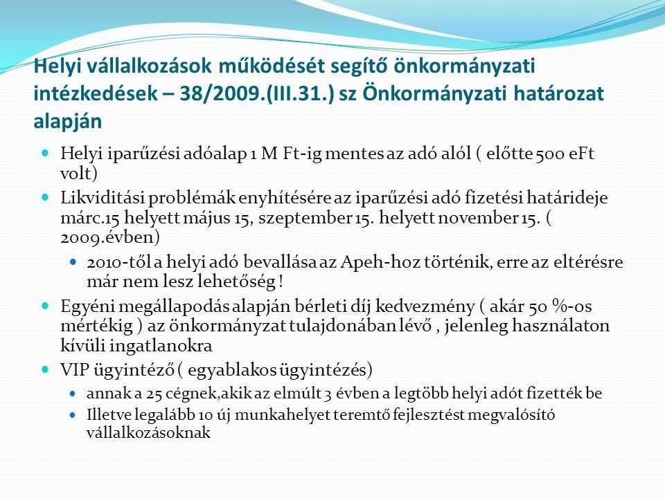 Helyi vállalkozások működését segítő önkormányzati intézkedések – 38/2009.(III.31.) sz Önkormányzati határozat alapján Helyi iparűzési adóalap 1 M Ft-