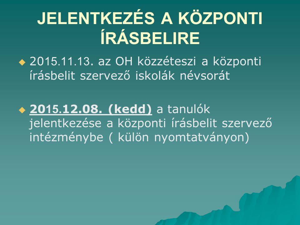JELENTKEZÉS A KÖZPONTI ÍRÁSBELIRE   20 15.11.13.