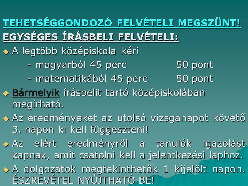 TEHETSÉGGONDOZÓ FELVÉTELI MEGSZÜNT.