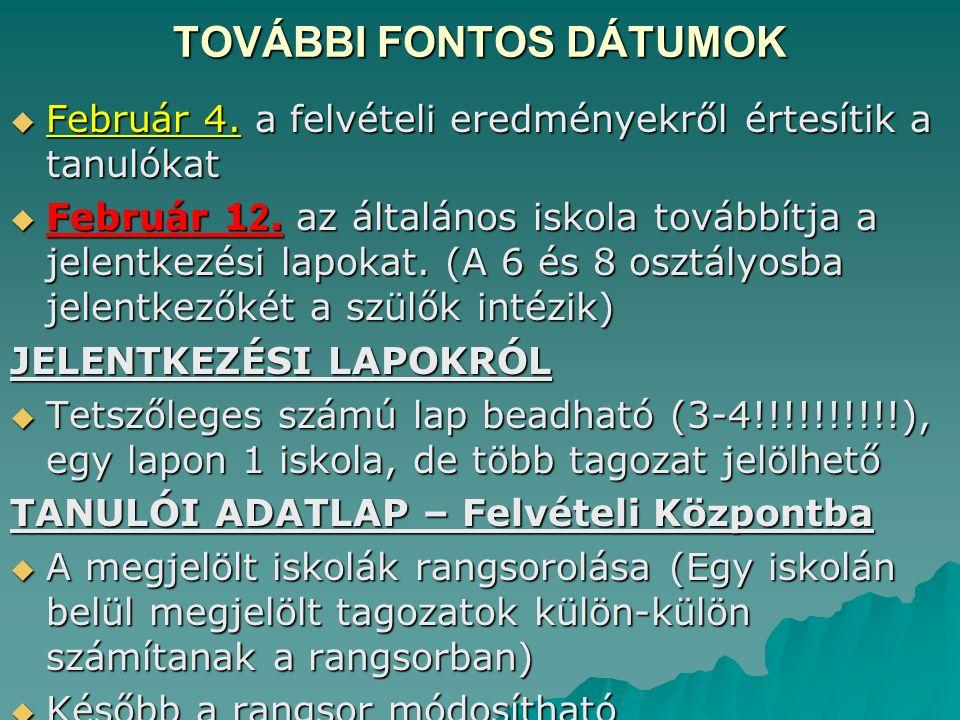 TOVÁBBI FONTOS DÁTUMOK  Február 4. a felvételi eredményekről értesítik a tanulókat  Február 1 2.